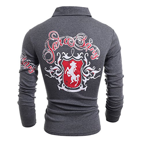 CHENGYANG Herren Longsleeve Poloshirt Slim Fit Langarmshirt T-Shirt Langarm Schwarz