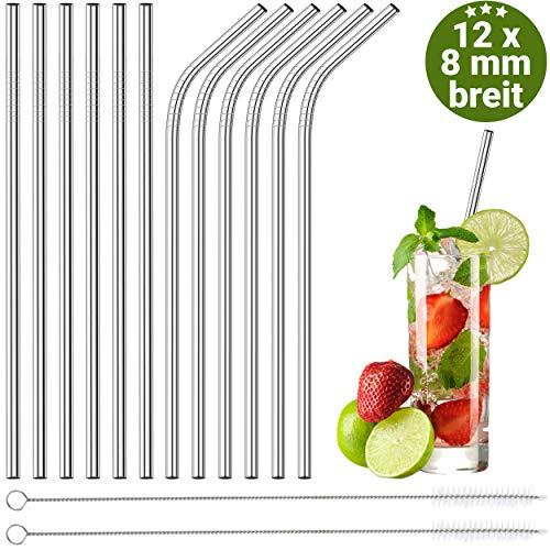 BAR BARRY 12er Set Edelstahl Strohhalm 8 mm Wiederverwendbar Silber Eco Nachhaltige Trinkhalme für Cocktail Smoothie Mit 2 Reinigungsbürsten (Edelstahl Strohhalme)