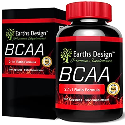 BCAA - 450mg Branched Chain Amino Acids with the essential aminos Leucine, Isoleucine, Valine - 90 Capsules (3 Month Supply) by Earths Design by Earths Design