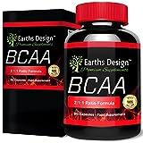 BCAA Aminosäuren - Hochdosiert 450mg - Aminos 2:1:1 (Leucin, Isoleucin, Valin) - 90 Kapseln (3 Monate Vorrat) von Earths Design