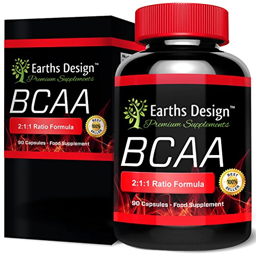 BCAA – Aminoácidos Ramificados 450mg con los aminoácidos esenciales Leucina, Isoleucina, Valina - 90 Cápsulas (Suministro para 3 meses) de Earths Design