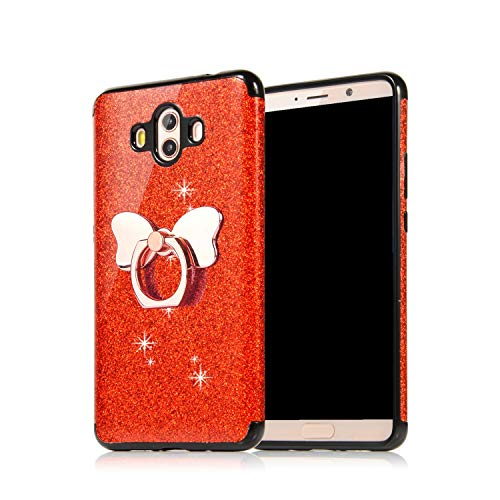 Preisvergleich Produktbild Misstars Glitzer Hülle für Huawei Mate 20 Lite Rot,  Bling Pailletten Weiche TPU Silikon Handyhülle Anti-Rutsch Kratzfest Schutzhülle mit Schmetterling Ring Ständer für Huawei Mate 20 Lite