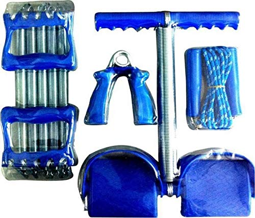 Arnav Combo of Spring Chest Expander + Ab Builder Tummy Trimmer + Plastic Hand Grips Gripper & Speed Skipping Jump Rope, Exercise Jump Rope & Fitness Gym, Home Gym & Fitness Kit