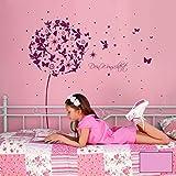 ilka parey wandtattoo-welt® Wandtattoo Wandaufkleber Wandsticker Aufkleber Sticker Pusteblume mit Elfen Feen Schmetterlingen Blumen Punkten Sternen und Wunschtext M2056 - ausgewählte Farbe: *flieder* ausgewählte Größe: *L - 156cm breit x 148cm hoch*