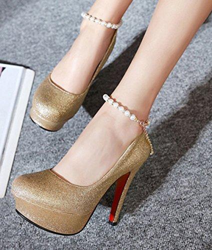 Aisun Damen Sexy Künstliche Perlen Kette Plateau Stiletto Gold 42 EU hv4DugS4c