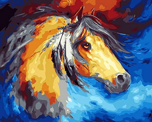 GCQBLM Malen nach Zahlen malen nach Zahlen für wohnkultur öl Bild malerei Pferd 16x20 Zoll Rahmenlos