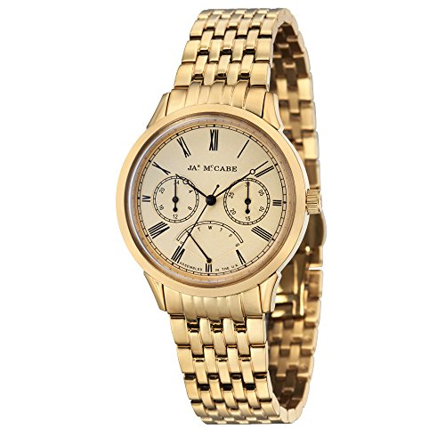 James McCabe Men's JM-1019-22 Heritage Analog Display Quartz Gold Watch