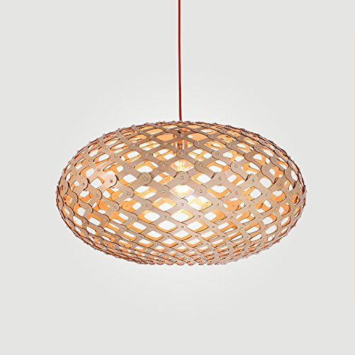 Modeen Manuelles gewebtes hölzernes hängendes Licht 15,74 Zoll breite ovale geformte Schatten-Entwerfer-Lampen Korb-Beleuchtung Scheunen-Lager Stabkorridor-Kronleuchter