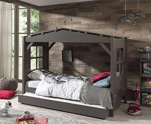 *Vipack Spielbett Pino, 90 x 200 cm, Haus, mit Bettschublade, Kiefer teilmassiv, weiß lackiert*
