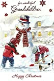 Cards Galore Online Weihnachtskarte für Enkel, Schneemann-Motiv, 22,9x 15,2cm