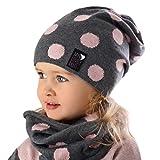AJS Mädchen Set Mütze Beanie Loopschal Frühling Sommer Herbst mit Baumwolle Punkte Strickmütze Farbe Grau