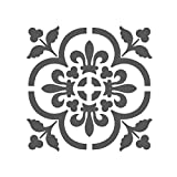 J BOUTIQUE STENCILS LARGE WALL STENCILS DAMASK STENCIL DIY REUSABLE PATTERN DECOR FAUX MURAL V0013 (medium)