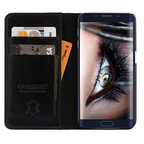 Galaxy S6 Edge Lederhülle/Ledertasche/Hülle/LederCase/Cover/Etui/Tasche von Blumax für Samsung aus echtem Leder schwarz für 5.1 Zoll mit Kartenfächern - ohne Magnetverschluss
