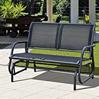Black Double Swing Bench Outdoor Garden Patio Furniture Relax Comfort 2 Seats Poolside Lightweight Glider Rocking Chair Armrest