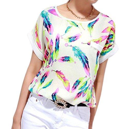 ❤️Blouse Femme, Amlaiworld Plumes Blouse en Mousseline de Soie Tops Manches Courtes Occasionnels Lâche T-shirt (L, Blanc)