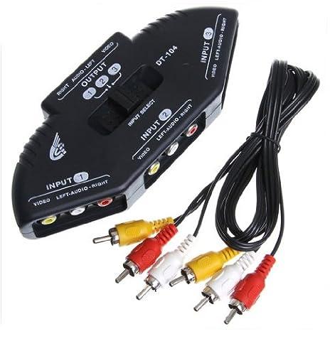 3 Way Port Audio Vedio AV RCA Sélecteur jeu Splitter Box pour PS2 DVD DV