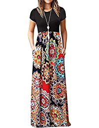 ca3d392a7028 Kidsform Women's Casual Short Sleeve Maxi Dress Loose Long Dresses with  Pockets