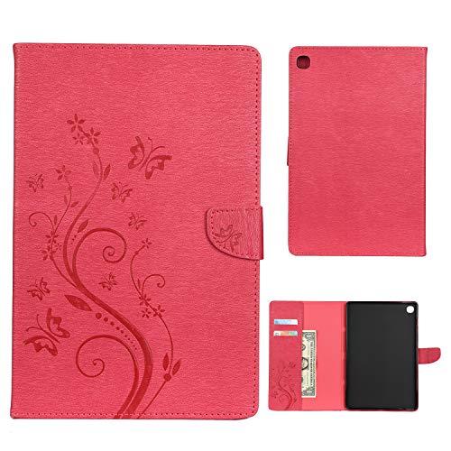 Dedux Hülle Samsung Galaxy Tab S5e 10.5 T720/T725 [Geprägte Relief Serien Retro geprägte Schmetterlings Blume Schutzhülle,Einschubfächer für Karten,Magnetische Verschluss.rot T720 Serie