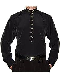 Designer Herren Stehkragen Hemd S1 Schwarz o Weiß Stick Herrenhemd Langarm  Stehkragenhemd d0c3200abb