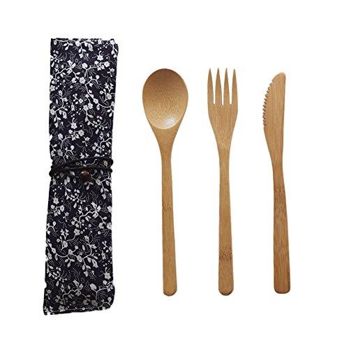 Purebesi Couvert de Table,Style Japonais Ensemble de Couverts Bambou Lot de Couverts en -1 Fourchettes, 1 Cuillères, 1 Couteaux-avec Sac