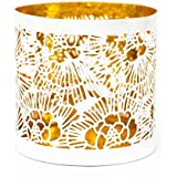 The Esthetic Label Iron Filigree Round Votive Holder (10.25 Cm X 10.25 Cm X 10.25 Cm, White And Gold)