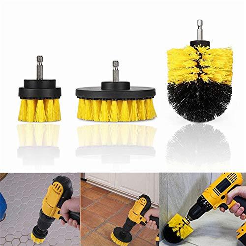 HugeAuto 3pcs Trapano Elettrico spazzole di Pulizia Scrub Brush Kit Attacco 2/3.5/4inch per Pulizia Auto Pneumatici, Cucina, Bagno, Tappeto Mat (Blu)