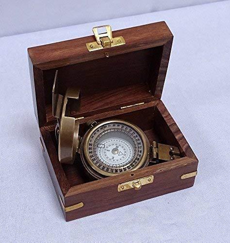 G1100: Großer Historischer Peil- und Marschkompass, Armee Kompass aus Altmessing