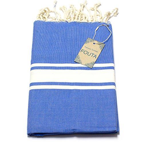 Fouta Hamam-Tuch Sauna-Tuch Pestemal Peshtemal XXL Extra Groß 197 x 100cm - 100% Baumwolle aus Tunesien als Strand-Tuch, für Bad, Picnic, Yoga, Schal (Orientalisches Türkisches Bade-Tuch) (Ozeanblau) (Damen-frottee-liege)