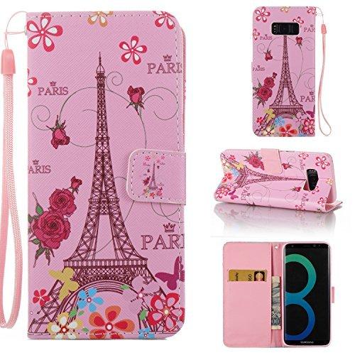 Galaxy S8-Fall, für [S8], merkuyom [Handschlaufe] [Standfunktion] Premium PU Leder Ständer Wallet Tasche [Karte] Klappe Flip Cover Fall für Samsung Galaxy S8, W/Stylus, Pink Flower Tower (Fällen Handy Verizon Flip)