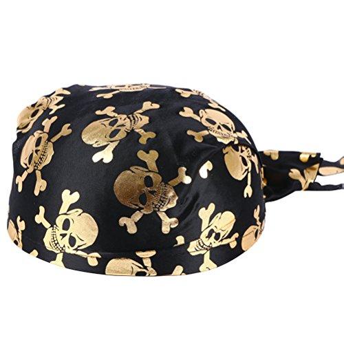 Amosfun Spaß Piratenkostüm Kolonial Hüte Skelett Muster Piraten Zubehör für Halloween Oder Jede Party Halloween Kostüme (Golden) (Kolonial Kostüm Zubehör)