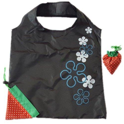Taschen Walmart (Wiederverwendbare Einkaufstaschen, favolook Eco Erdbeere Faltbar Kunststoff Lebensmittels Tote Frauen Aufbewahrungsbeutel 8Farben schwarz)