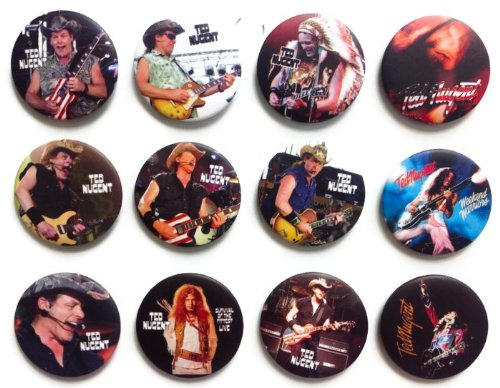 TED NUGENT Warriors Awesome Quality Lot 12 neue Pins Pinback Buttons Buttons Button 3,8 cm -