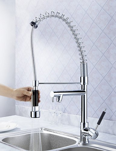 AI LI WEI Bathroom Furniture - Solid Brass Spring Kitchen Faucet with Two Spouts (Chrome Finish)