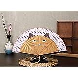 Dwayne C Women´s Folding Hand Fan With Tassle Cat Print 21cm Tassle (Brown)
