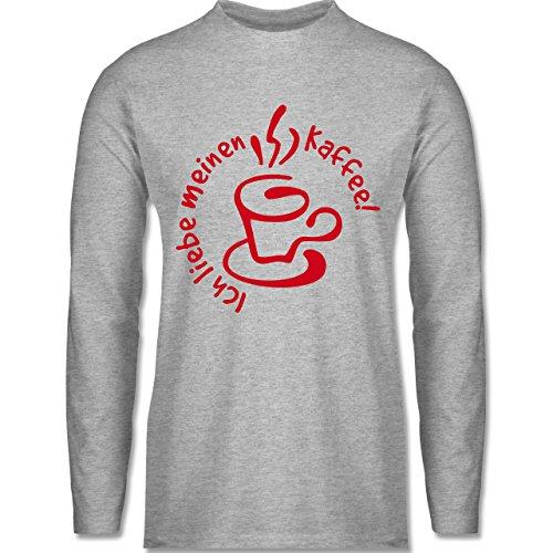 Shirtracer Küche - Ich Liebe Meinen Kaffee - Herren Langarmshirt Grau Meliert