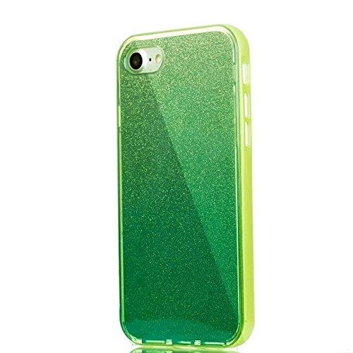 Etsue Glitzer Silikon Schutz HandyHülle für iPhone 6 Plus/6S Plus (5.5 Zoll) Laser Reflect Blue Light Bling TPU Hülle, Luxus Glitzer Glanz Silikon Handytasche Ultradünnen Weiche Durchsichtig Handyhüll Glitter,Grün