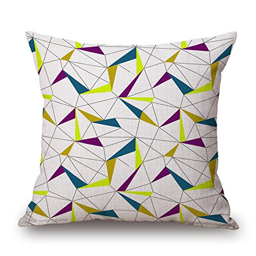 Taie d'oreiller Mode géométrie simple coton lin oreiller triangulaire impression housse de coussin De Voiture Coussin accueil Décoration salon chambre Carré sieste oreiller 45 * 45 cm