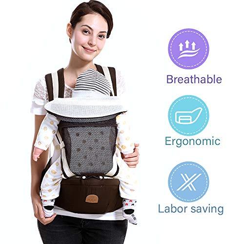 SaponinTree Ergonomische Babytrage, Reine Baumwoll Babytrage Rücken mit Abnehmbarer Kapuze, Babytrage mit Hüftsitz, Leicht und atmungsaktiv, 3 Tragepositionen, für Neugeborene & Kleinkinder