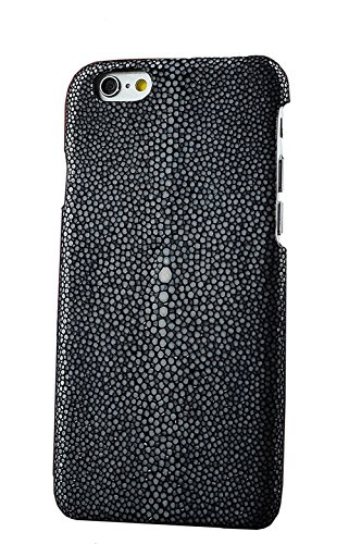 Minifamily® Genuine Polierte Stingray Manta Ray Leder Shell Tasche für iPhone 6 / 6s / 6 Plus 5,5 Zoll / iPhone 7/7 Plus 5,5 Zoll (iPhone 7 4,7 Zoll, Schwarz) - Genuine Stingray Haut