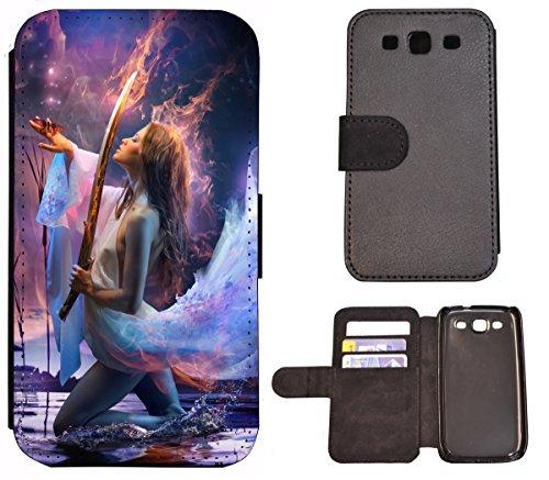 Hülle Galaxy S3 Hülle Galaxy S3 Neo Schutzhülle Flip Cover Case Samsung Galaxy S3 / S3 Neo (1345 Frau Fantasy Schwert Wasser Feuer) Logo Samsung S3 Case
