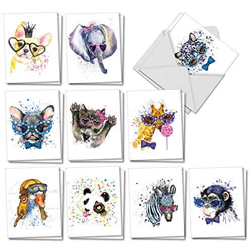 Funky Colorful Creatures: 20 verschiedene Karten für alle Anlässe (Mini 10,2 x 13,3 cm) niedliche Tiere mit Brille und Schleife mit Umschlägen. AM6749OCB-B2x10