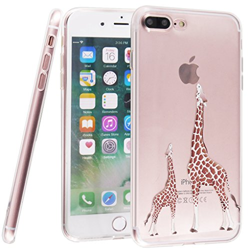 iPhone 7 Case, Bestsky Premium Clear Flexible Soft TPU Colorful Pattern Lovely Animal Printing Ultra Slim Smooth Durable Transparent Silicone Skin Protective Case Cover for iPhone 7 4.7 inch - Giraffe Eating Apple