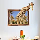"""StylishWalls 3D Window Giraffe Wall Stickers For Kids Room Living Room """"Giraffe Popping Out Of Window"""" Ideal For Home, Boys, Girls, Nursery, Bedroom, Hall, Play School, Family Lounge, Cafe & Restaurant Decoration With Kids' Forest Theme For"""