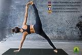 Yogamatte Rutschfest Faltbar - Geeignet für Yoga Fitness Gymnastik Pilates - BONUS eBook Ratgeber - GESCHENK Baumwolltragetasche - Dicke Große Sportmatte - Extra Breit und Lang - Rückstellschaum (Black) Vergleich