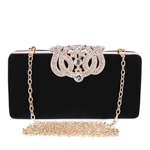 Frauen Glitter Diamant Perlen Handtasche Kissen Geformte Abendtasche Damen Clutch Bag Beutel Kettentasche für Nachtklub Partei Hochzeits Vereine - Schwarz (Tasche Perlen Handtasche)