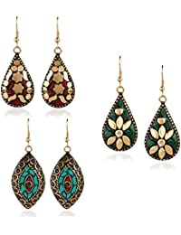 Yellow Chimes Handmade Tibetan Traditional COMBO of 3 Pairs Gold Plated Dangler Earrings for Women and Girls (Combo-3 Tibetan Earrings)