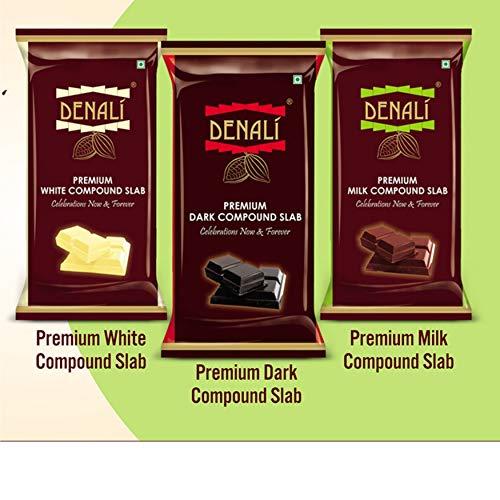 Denali Premium White, Milk and Dark Chocolate Compound Slab (500 Grams Each)
