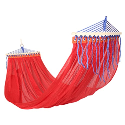 Hamac extérieur flip swing double maille respirant hamac ultra léger camping camping chaise (Color : Red, Size : 200 * 150 cm)