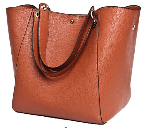 Taschen Damen Leder Braun 2018 SQLP Neu Elegant Große Handtasche Europäische Stil Schultertaschen Umhängetasche Shopper Tasche Henkeltasche Beuteltasche Weich Damentasche