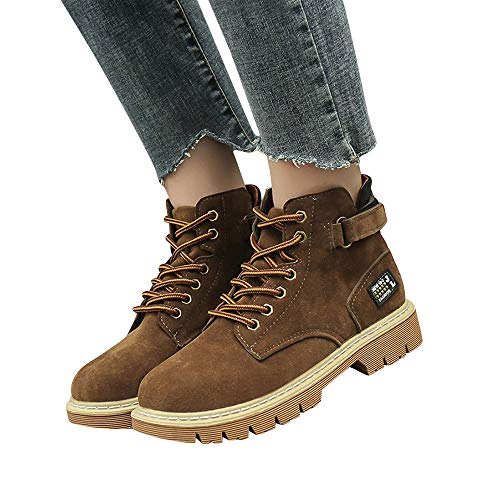 TianWlio Boots Stiefel Schuhe Stiefeletten Frauen Herbst Winter Flache Schnürstiefel im Herbst und Winter Retro Stil Weihnachten Braun 38